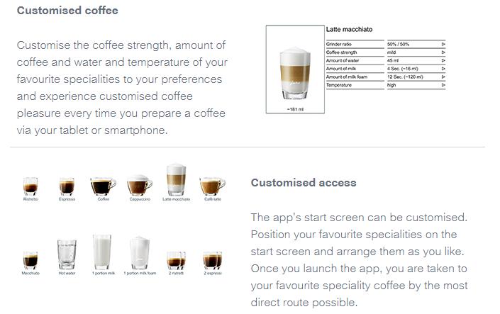 Customised Coffee on Jura App