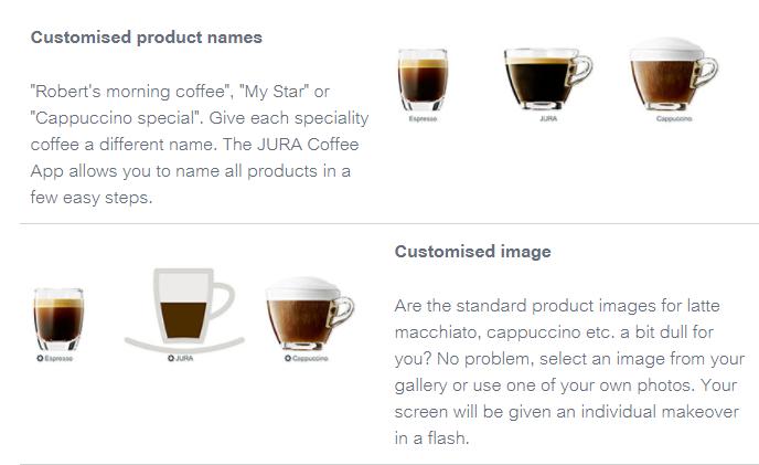 Customised Product Names on Jura App